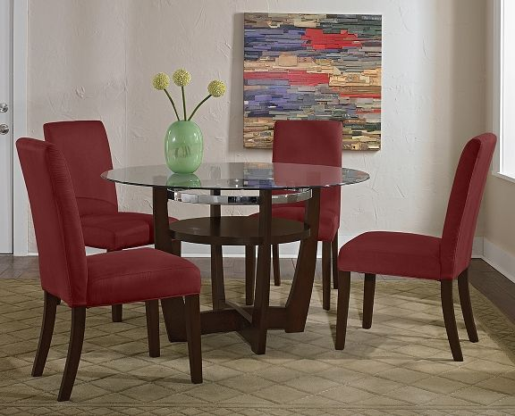 Daly Red Dining Room Collection Furniture Com With Its Combination Of Wood Metal And Glass And A Cool Red Dining Room Orange Dining Room Beige Dining Room