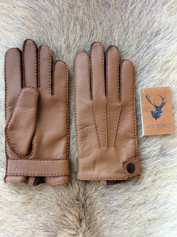 4904a872abca9 Winter Leather Gloves Handmade Deerskin Vintage Cashmere lining ...