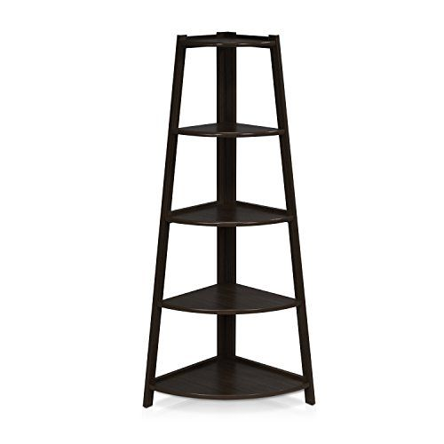 Furinno FNAJ 11112 1 5 Tier Corner Ladder Garden Shelf Espresso
