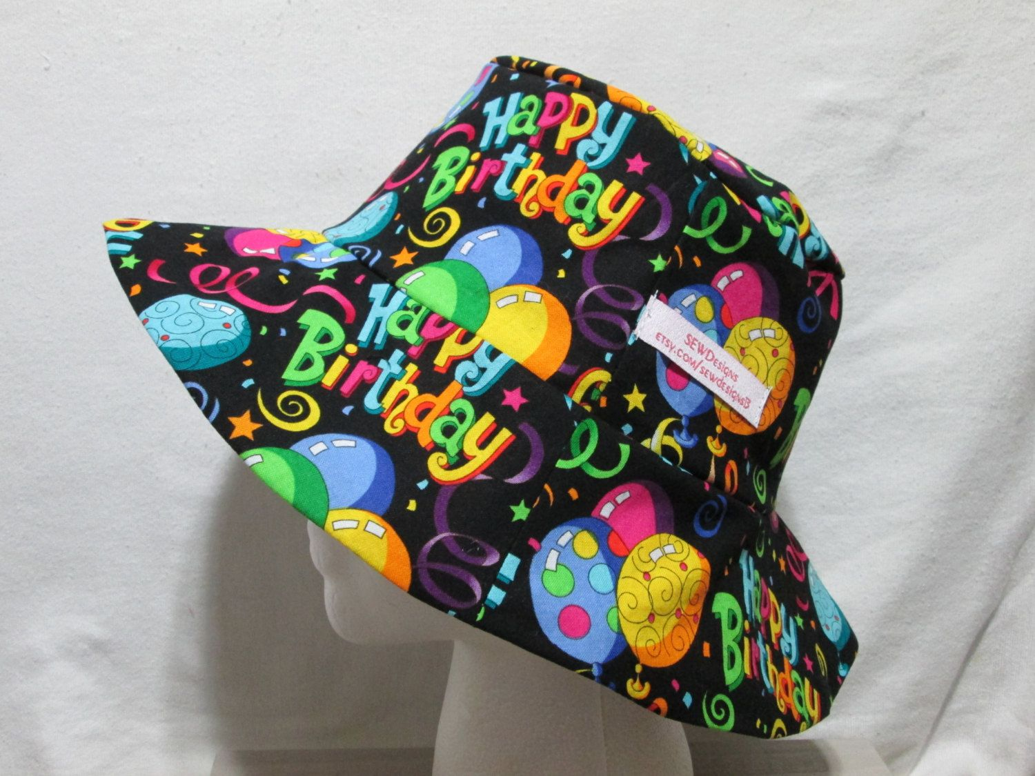 Bucket Hat 23 Large Happy Birthday With Balloons By SEWDesigns13 On Etsy