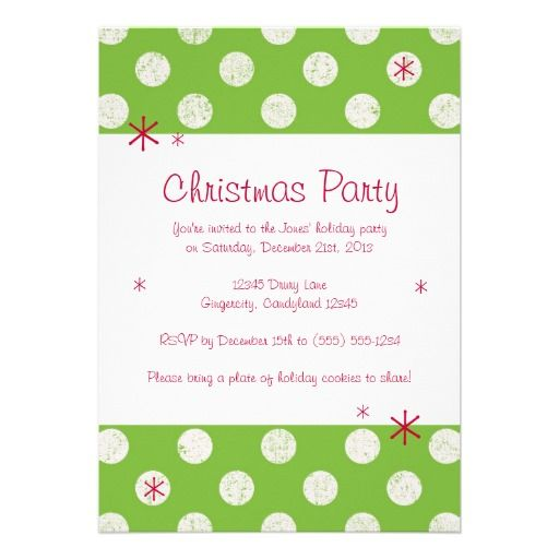 Green Polka Dot Christmas Party Invitation - holiday party invitation
