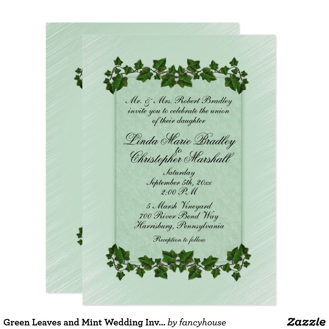 Green Leaves and Mint Wedding Invitation