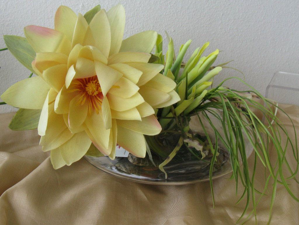 Silk Floral Arrangement Yellow Lillie Green Centerpiece Faux