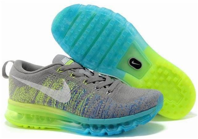 cheap for discount b316d 165f2 Nike Flyknit Air Max Grey Blue Green