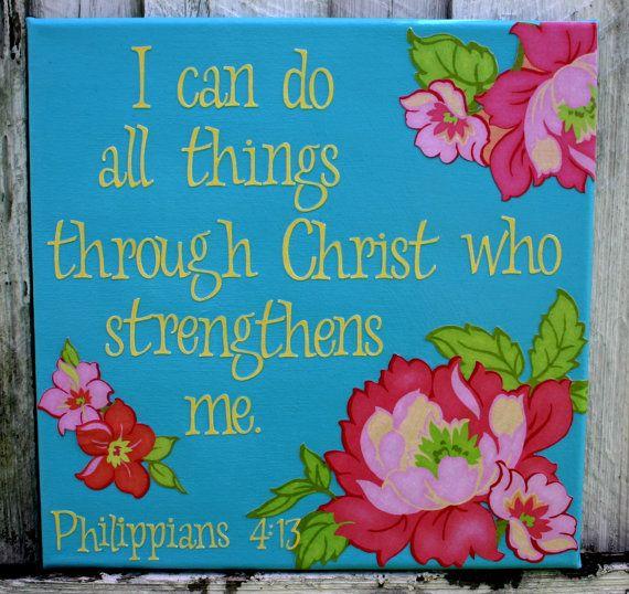 Scripture Canvas Wall Art- 12x12 in. Philippians 4:13   Scripture ...