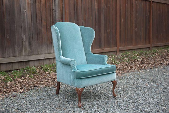 Vintage Blue Green Velvet Wingback Chair Living Room 2017