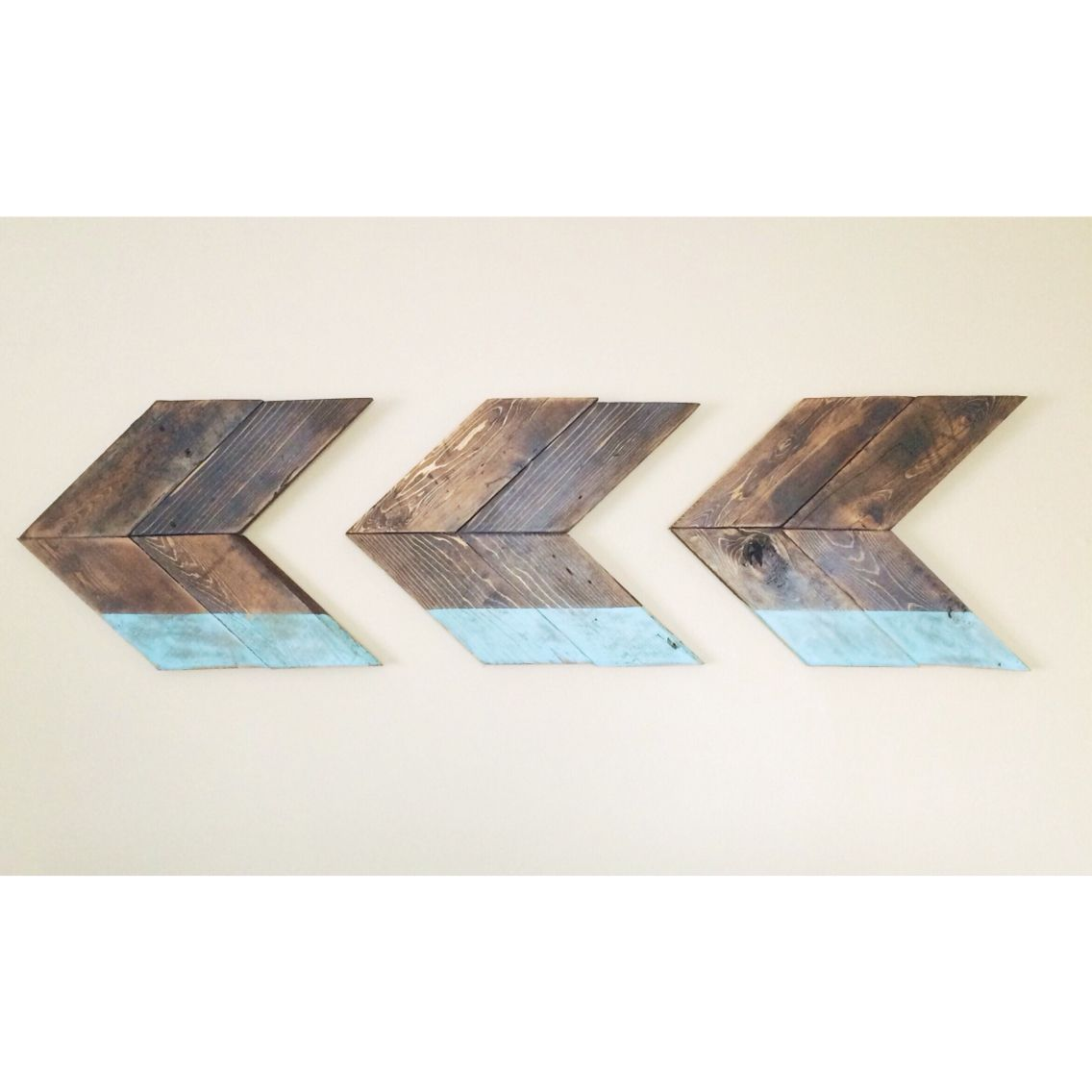 Rustic duck egg blue dipped wooden chevron wall hanging arrow art