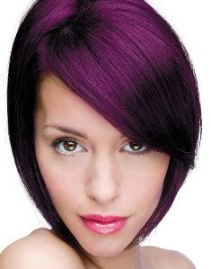 Dark Purple Hair Color On Short Bob 2016