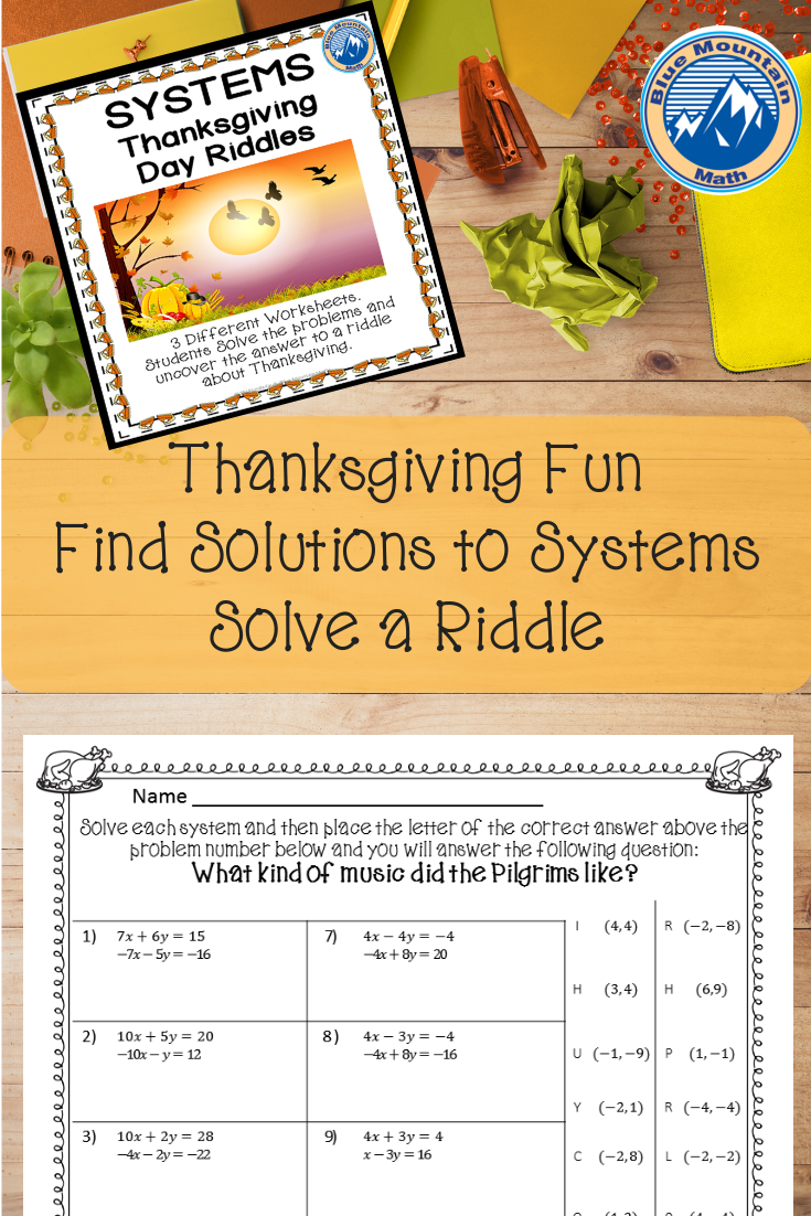 Systems Thanksgiving Riddle Algebra projects, Holiday