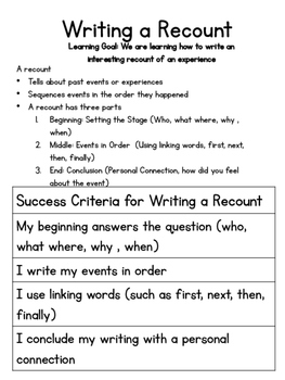 Write personal history essay recount