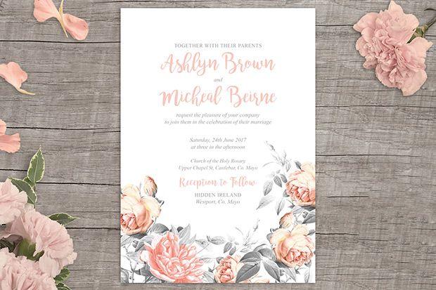 Rosa Romance Free Floral Wedding Invitation Printable From Appleberry Press Floral Wedding Invitations Free Wedding Invitations Printable Wedding Invitations