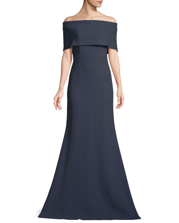 2e061641dee Lela Rose Off-the-Shoulder A-Line Evening Gown