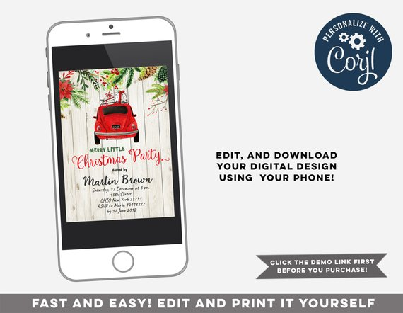 Editable Merry Little Christmas Party Invitation, Red truck