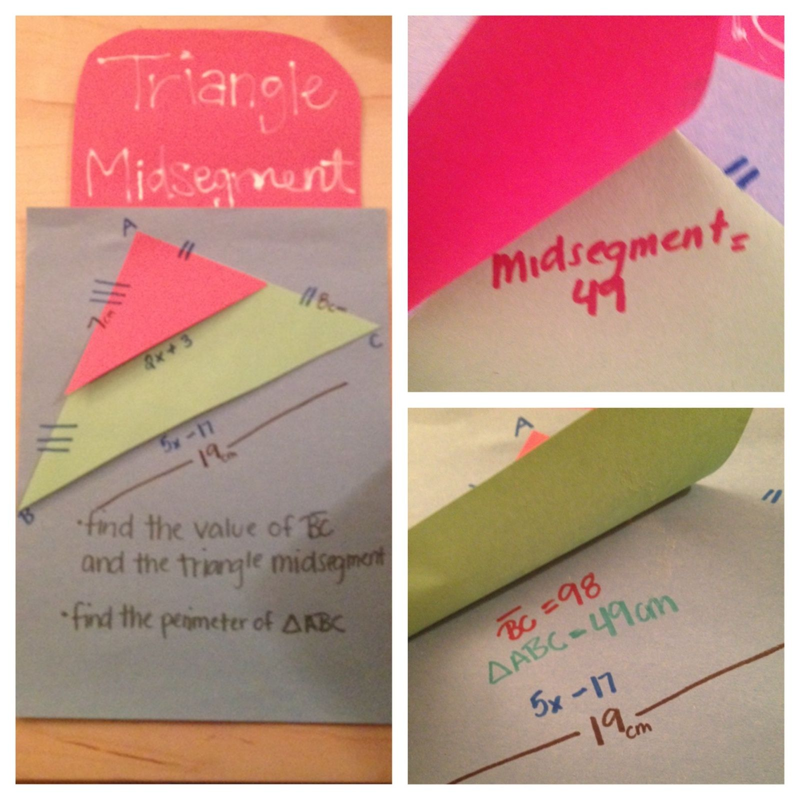 Triangle Midsegment Pop Up Find The Midsegment Length Length Of Bc And The Perimeter Then Fold Up To Ch Teaching Geometry Math Geometry Guided Math Lessons