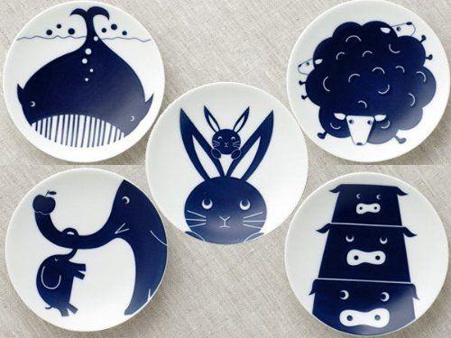 KIHARA KOMON KIDS 豆皿5枚揃 (クジラ・ヒツジ・ウサギ・ゾウ・ブタ)