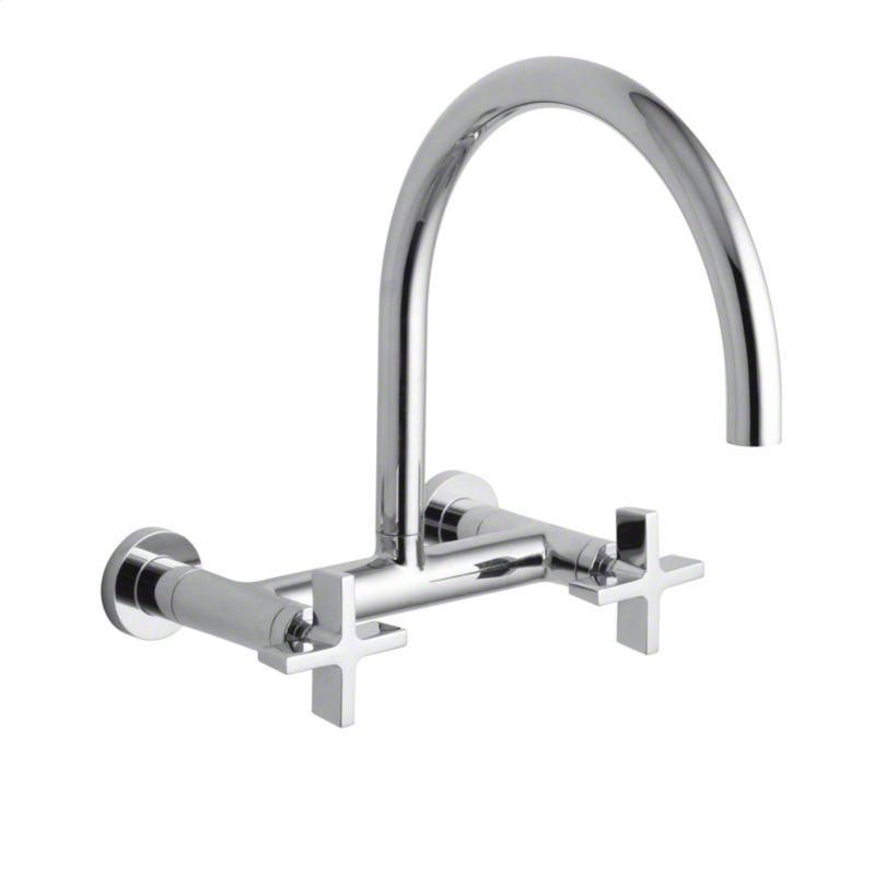 Kallista Chrome One Wall Mounted Bridge Kitchen Faucet Cross
