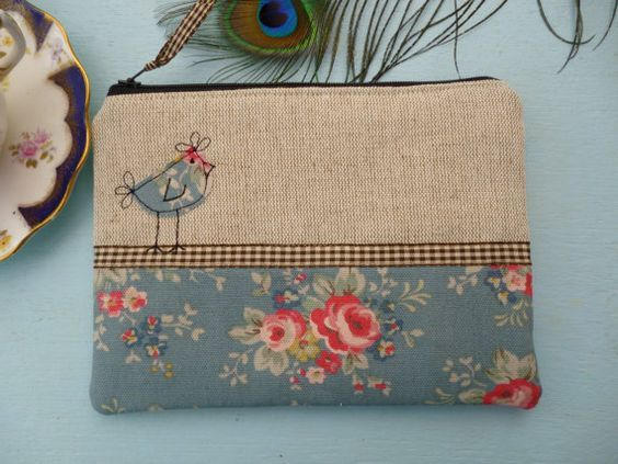 handmade shabby chic coin purse cosmetic makeup bag cath kidston fabric slate lace. Black Bedroom Furniture Sets. Home Design Ideas