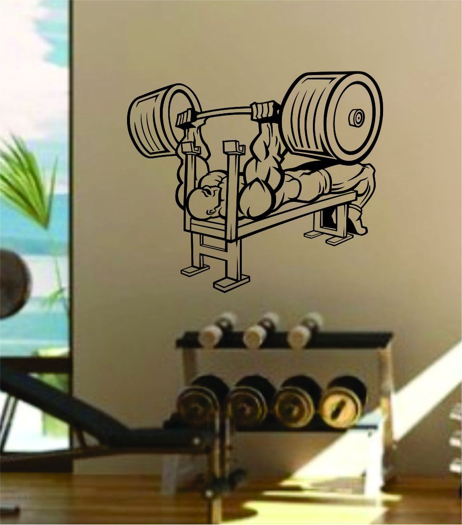 7c57a9e8d663ce5971023968401794f9 - Bench Press Wall Decal Home Decor Bedroom Room Vinyl Sticker Art Teen Work Out Gym Fitness Lift Strong Inspirational Motivational Health - gold - work-from-home