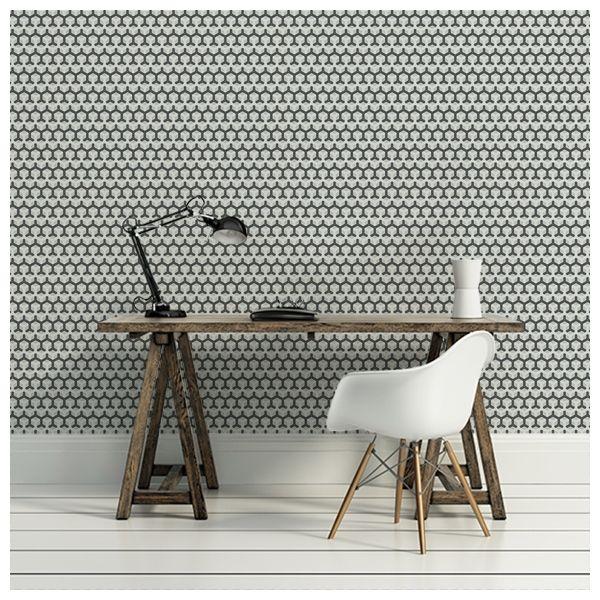 Superieur Il A Ma Préférence Avec Des Murs Cuisine Bleu Ou Gris Papier Peint   Cole  And Son   Honeycomb   Noir / Blanc