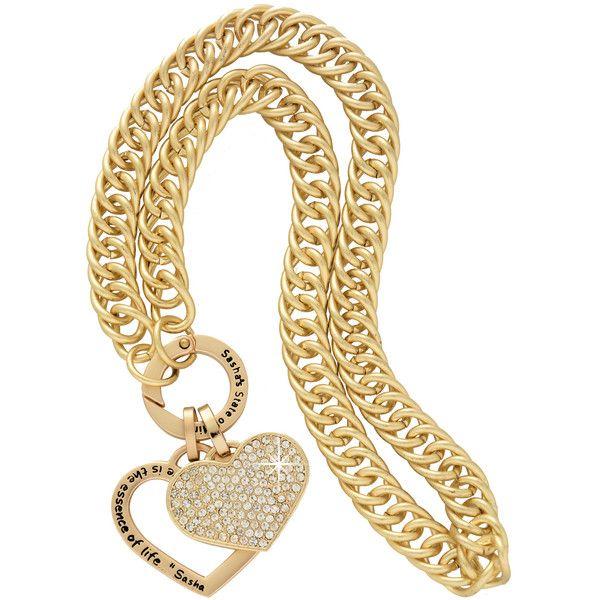 SASHA'S DOUBLE HEART Matte Gold Necklace ($170) via Polyvore