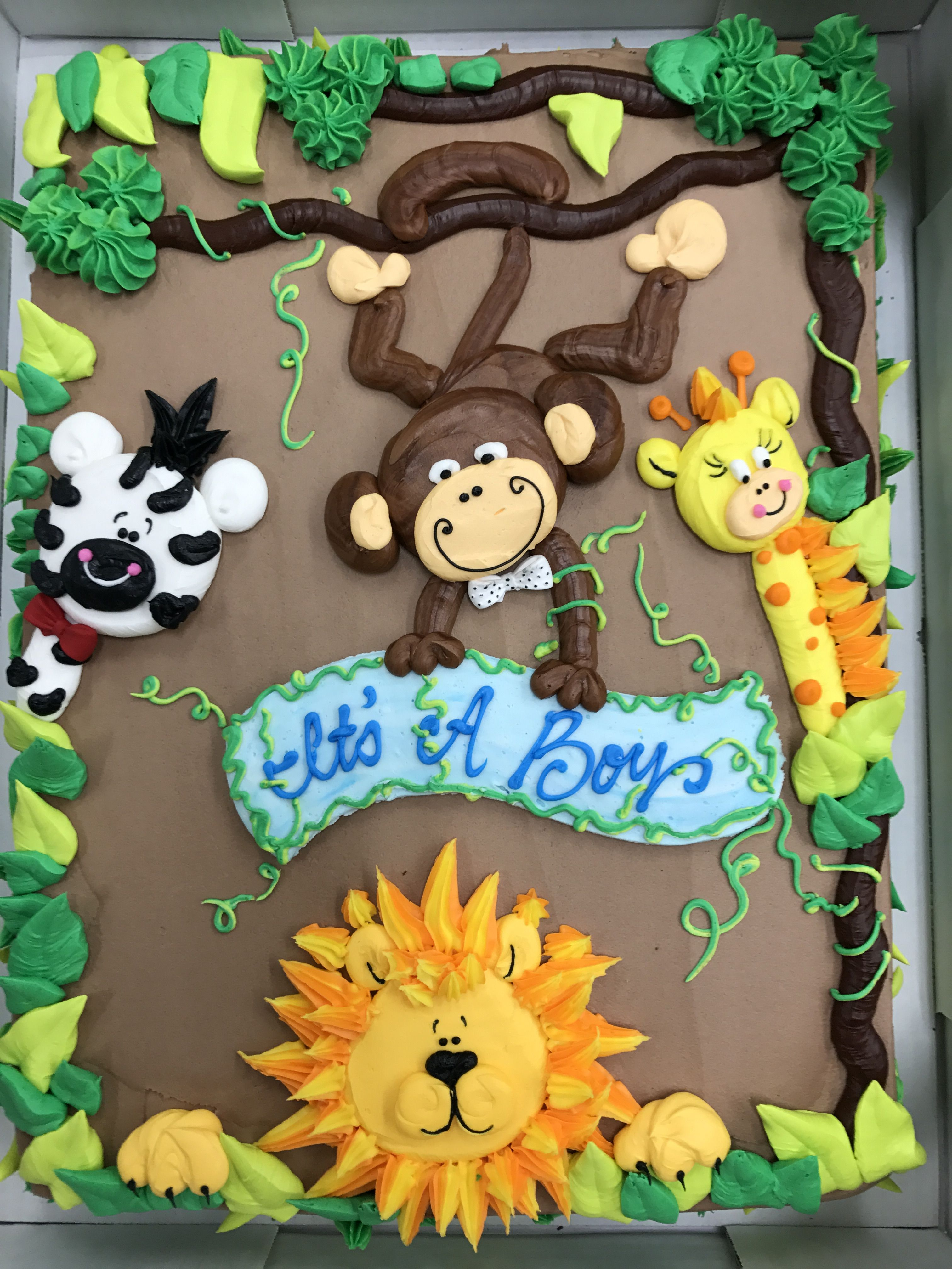 Jungle Cake With Images Baby Shower Sheet Cakes Animal Baby