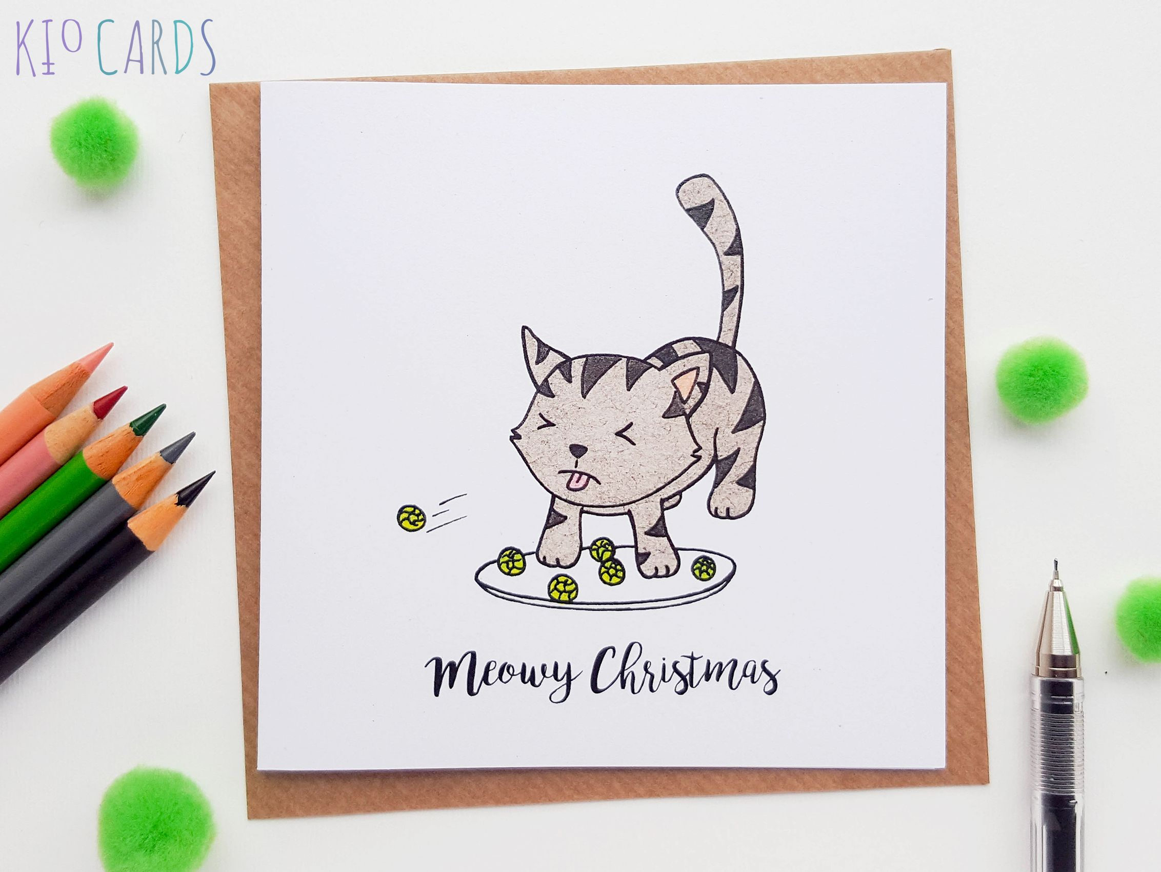 Christmas cat card sprouts cute christmas cards cat