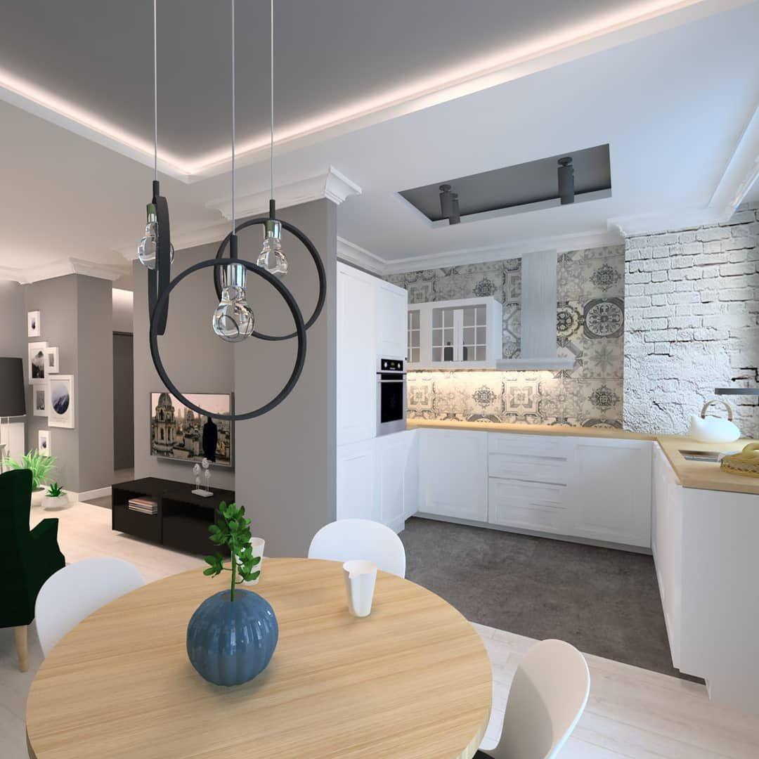 Projekt Kuchni Kuchnia Salon Jadalnia Projekt Aranzacja Biel Zielen Szarosc Stylowewnetrza Stylowewnetrze Pelikam Kitchen Tiles Kitchen Home