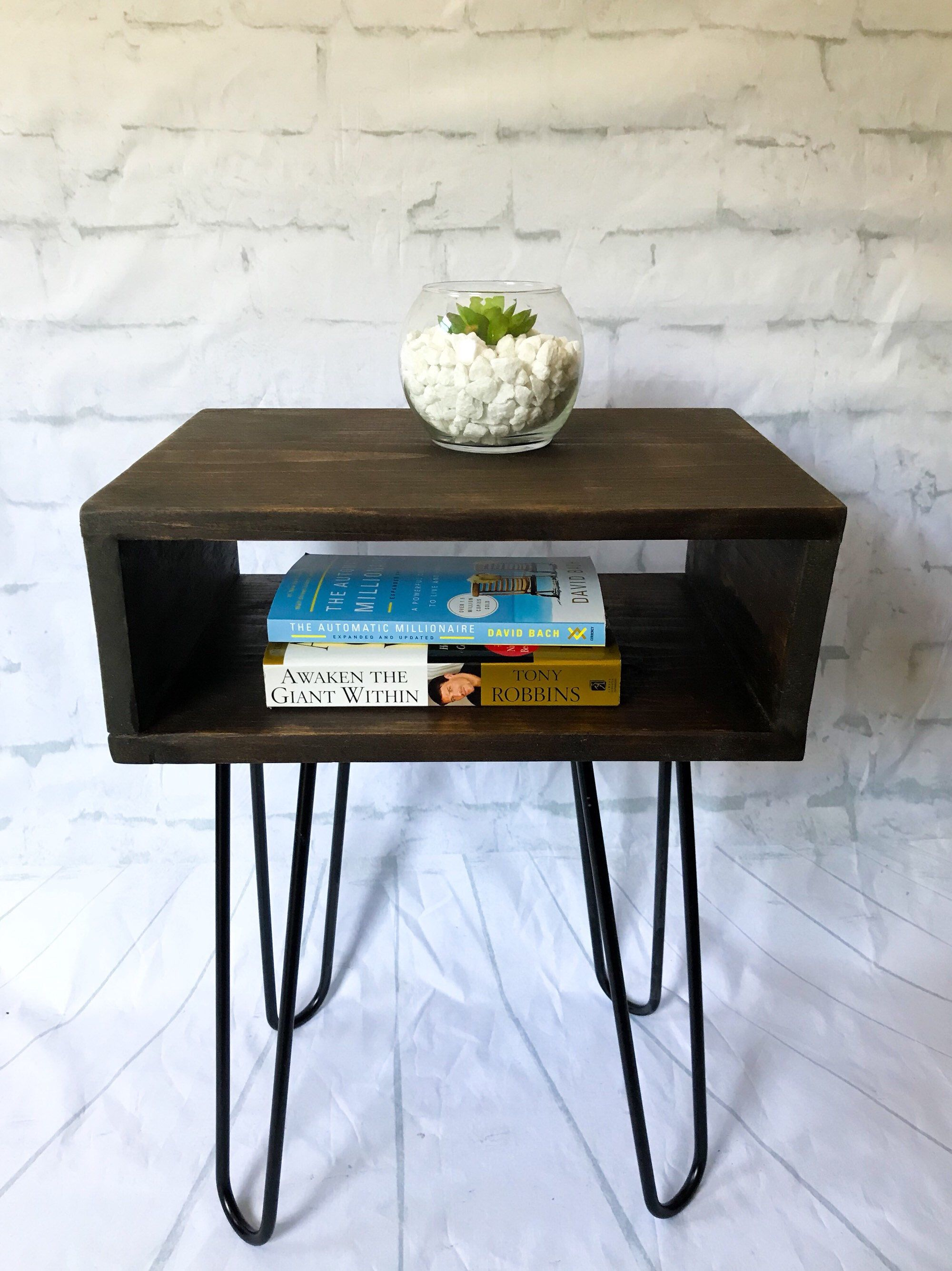 Handmade Solid Wood Nightstand Bed Side Table Mid Century Etsy