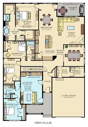Home plan with in law suite- make garage 3 stalls and dining room into office