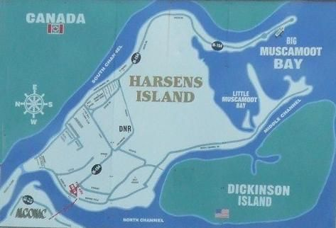 Map of Harsens Island Michigan   russle island homes for