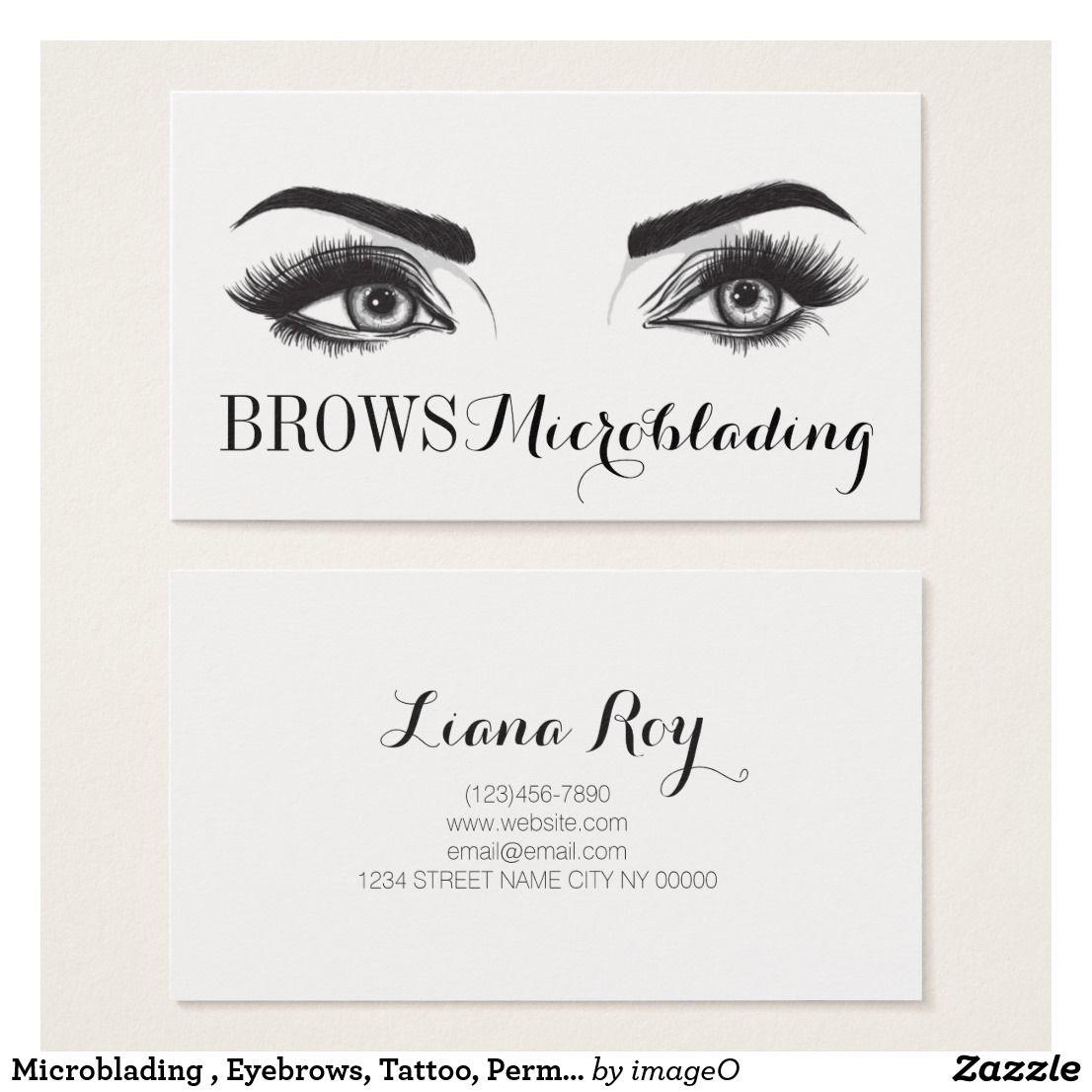 Microblading Eyebrows Tattoo Permanent Makeup Business Card Zazzle Com Makeup Business Cards Microblading Business Cards