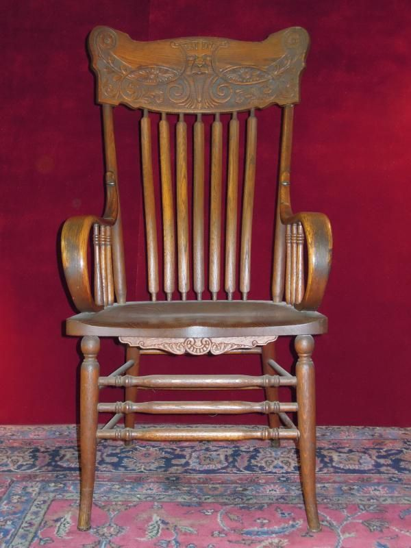 Victorian Wood Arm Chair, Slat Back, Carved Face - Victorian Wood Arm Chair, Slat Back, Carved Face Furniture And