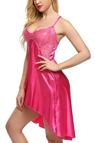 Avidlove Women Lingeire Satin Nightshirts Lace Chemises Irregular ... 2e4a6a0ad