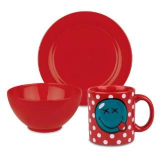 Check out the Waechtersbach S3BSRD6038 Smiley 3 Piece Breakfast Smiley Set in Red