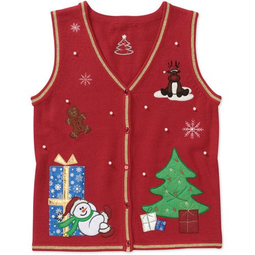 White Stag Womens Snowman And Tree Christmas Sweater Vest Women