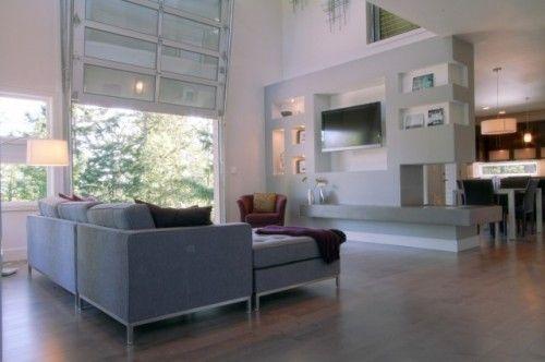 Urban modern Living Room w/ fire station aluminum garage door patio door modern living room