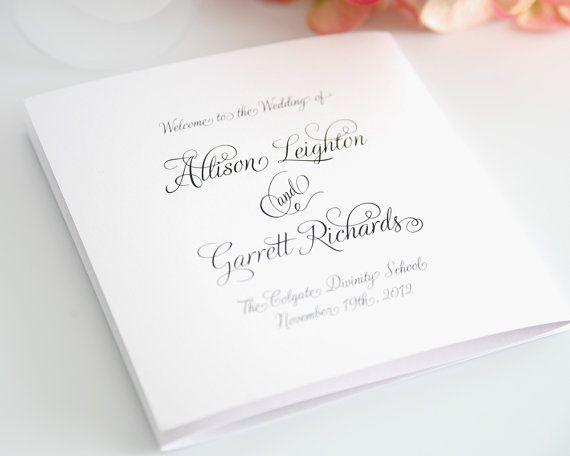 Fairytale Script Wedding Program In Black And By