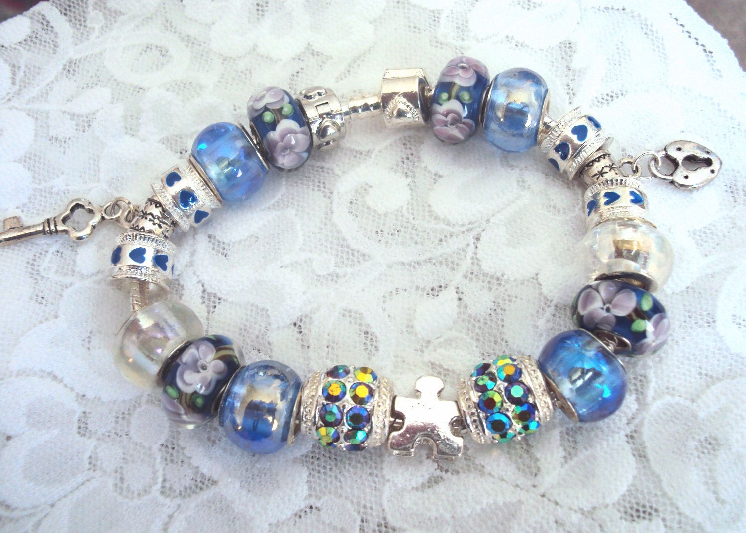 Pandora Inspired Silver Autism Puzzle Charm Bracelet, Blue & Purple Murano  Glass Beads, Austrian
