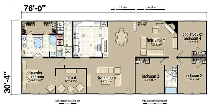 Floor plans champion 381l manufactured and modular for Modular homes plans with 2 master suites