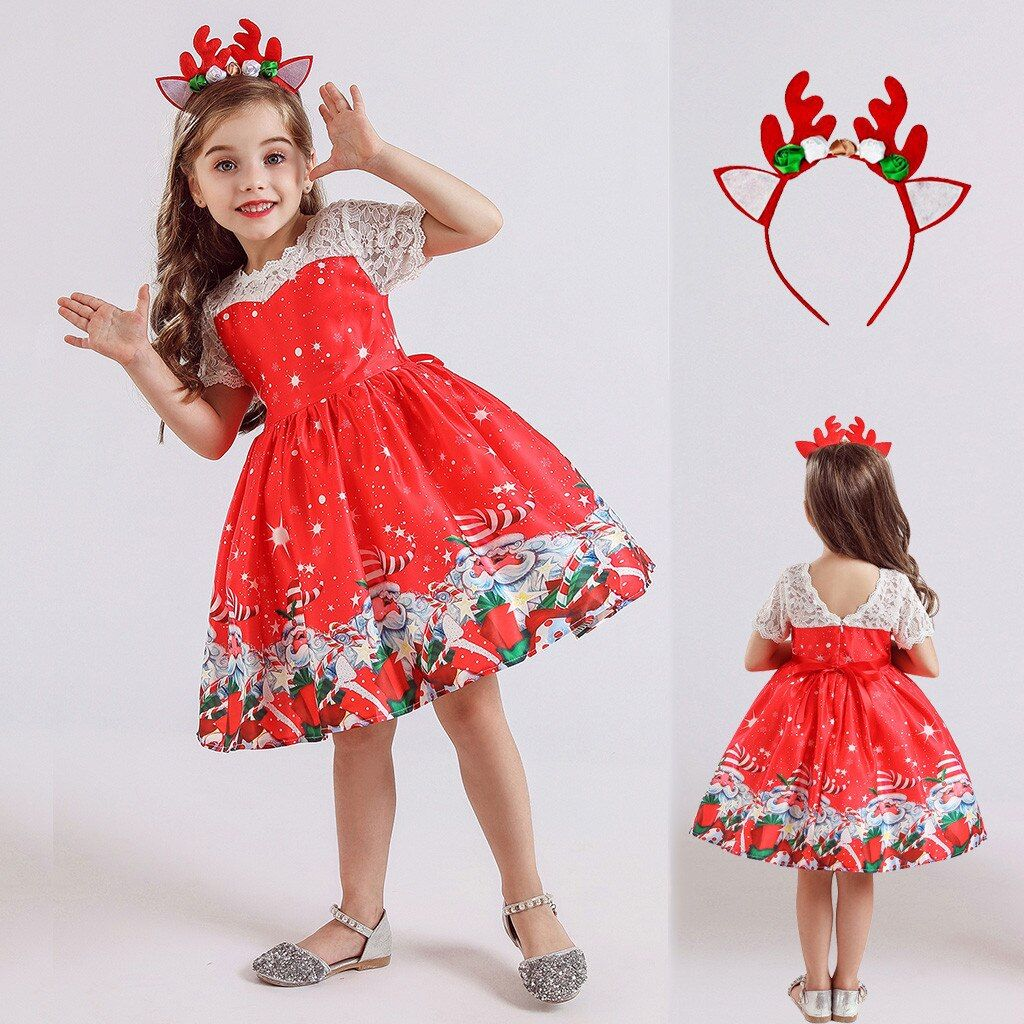 2020 Xmas Toddler Kids Baby Girls Christmas Dress Princess Party Romper Outfits