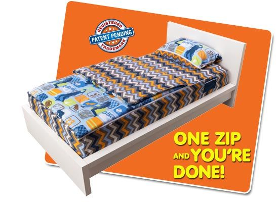 ZipIt Bedding. I just saw this on Shark Tank, and it looks