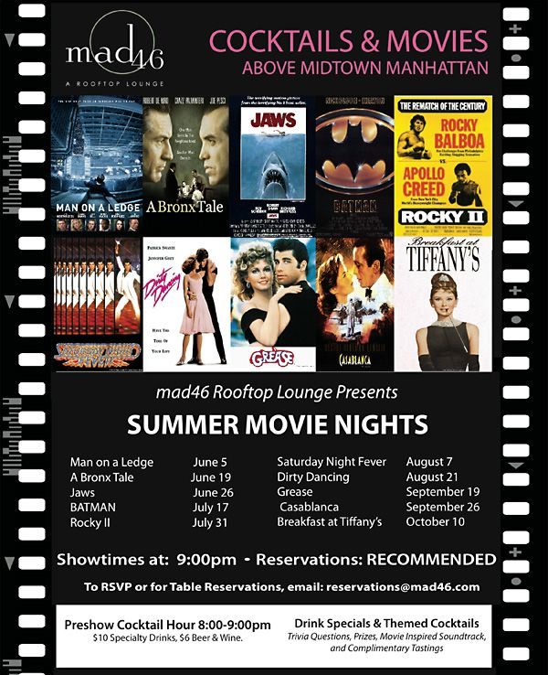 Movies Schedule for mad46 Rooftop #nyc #movies #rooftop