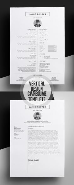 Beautiful Vertical Design CvResume Template   Pinteres