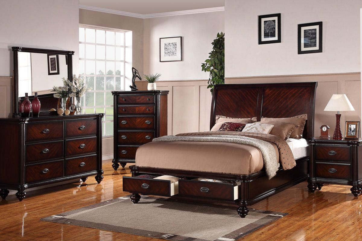 Poundex F9190q 5pc 5 Pc Alisha Cherry Finish Wood Queen Curved Back Headboard Platform Bed Set