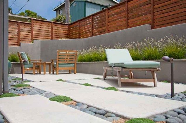 modern patio design gray retaining wall privacy fence patio ecotones landscapes cambria ca - Wall Fencing Designs