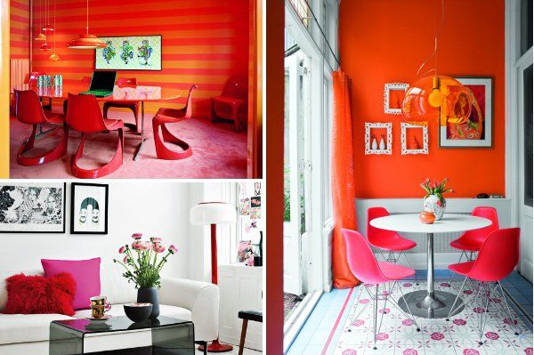 Red Orange And Red Violet Are Combined In This Space To Create A