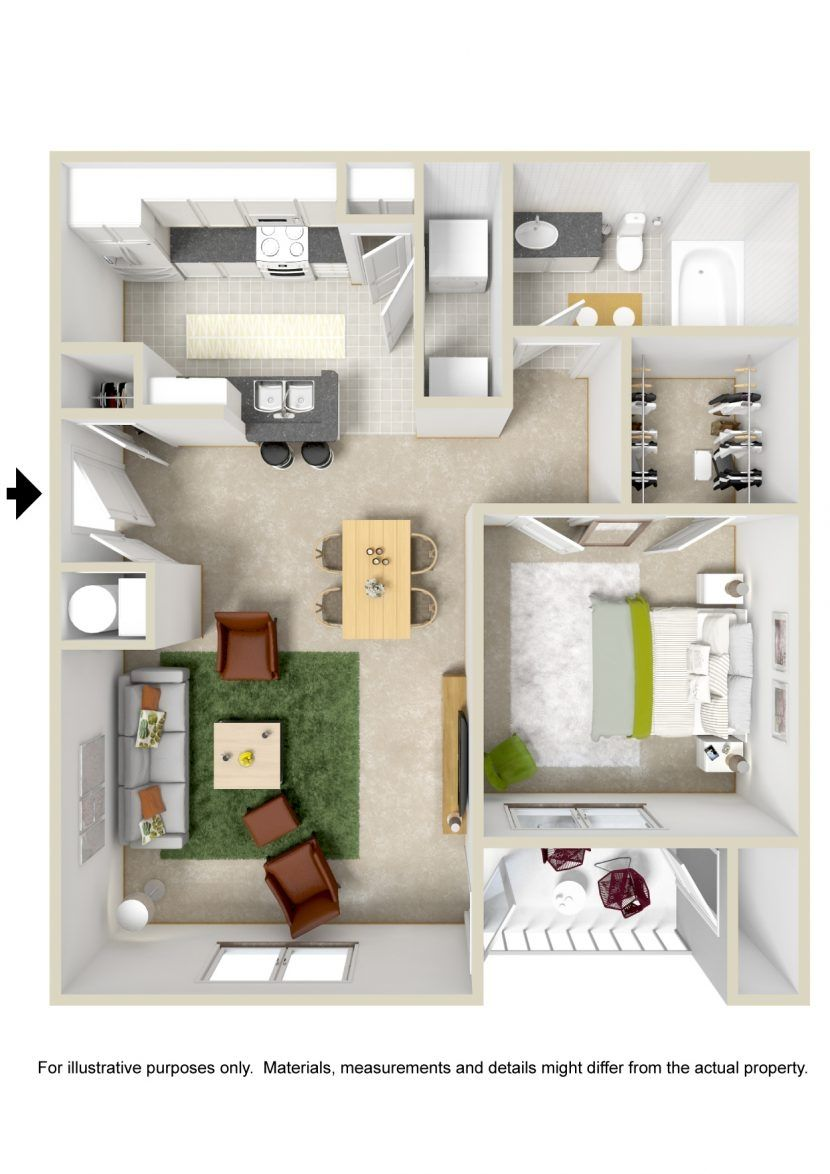 Large 1 Bedroom Apartment Floor Plans Small Apartment Plans Apartment Layout One Bedroom House