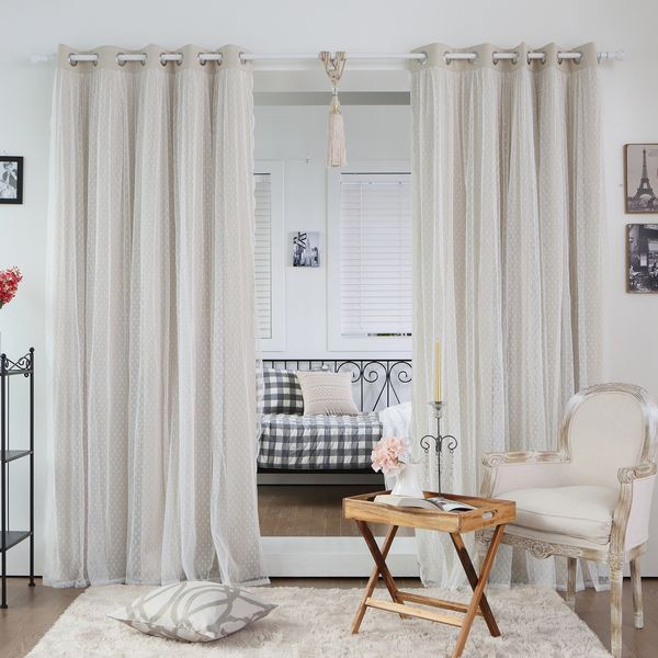 These Elegant And Sophisticated Dotted Lace Overlay Blackout Curtains Are A Luxurious Addition
