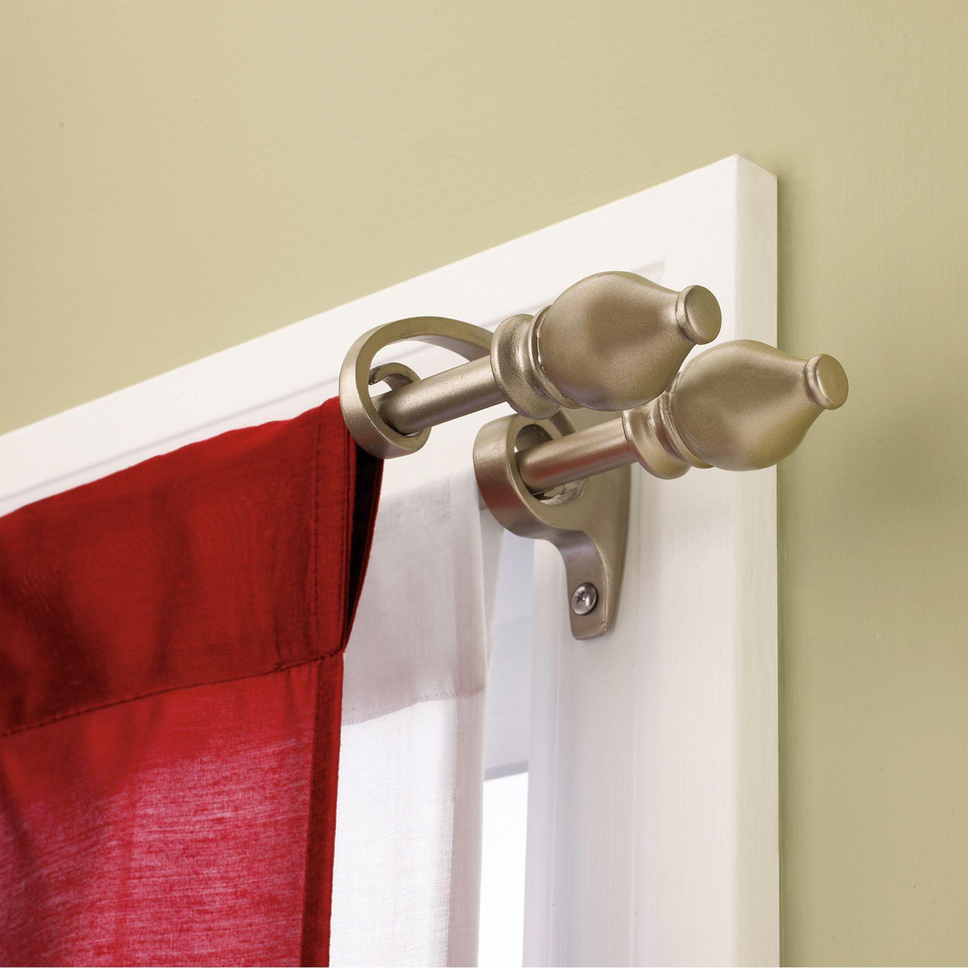 Umbra Serif Rod Set 108 In Beige Double Curtain Rod Set Double Rod Curtains Curtain Rods