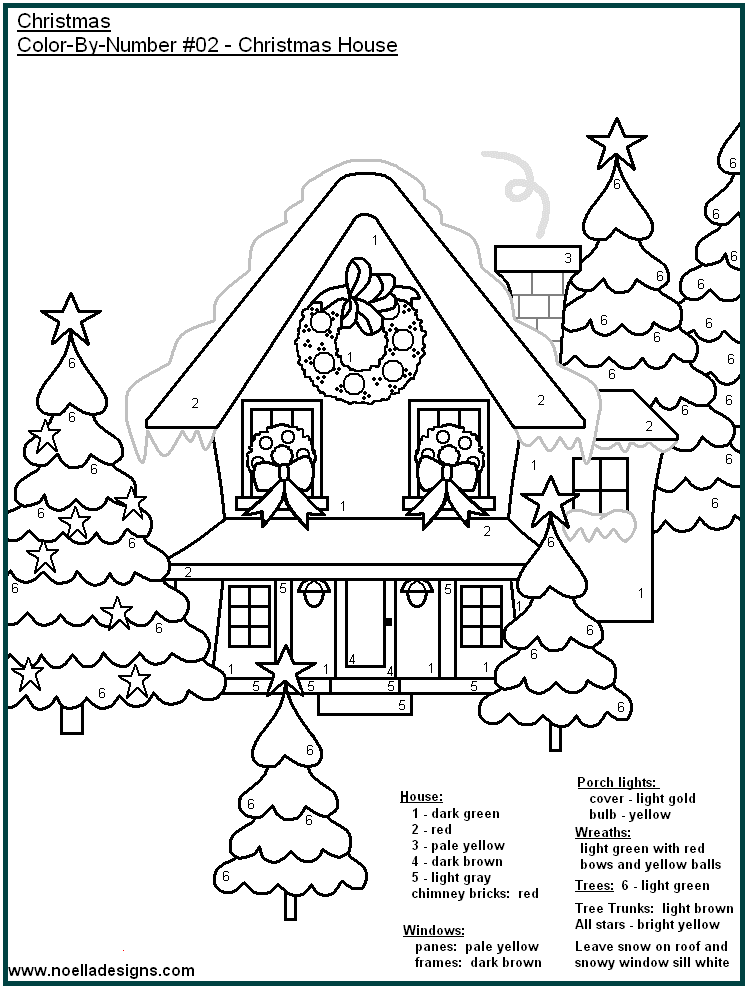 Christmas house color by number coloring page. | Christmas ...